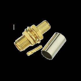 SMA connector, female, short, 5 mm, crimp