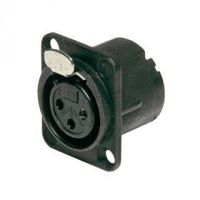 XLR panel connector Female 3-pin, black